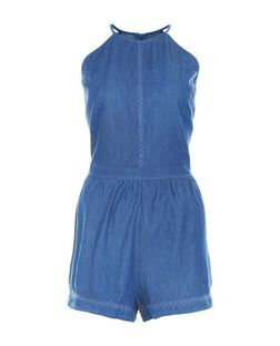 Influence Blue High Neck Playsuit  | New Look