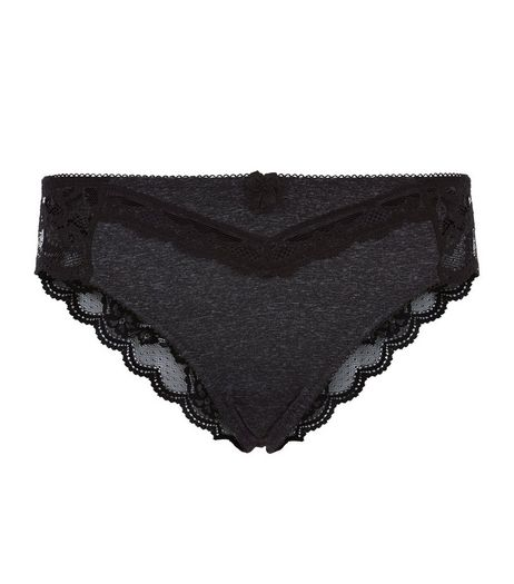 Grey Lace Trim Brazilian Briefs | New Look