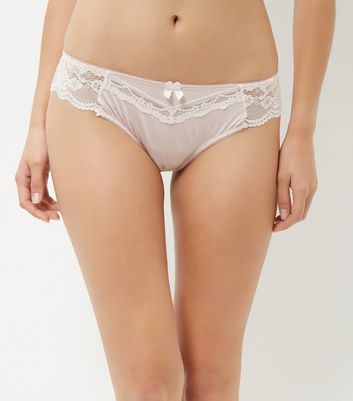 Pink Lace Trim Brazilian Briefs