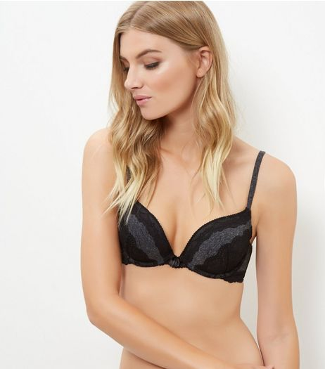 Grey Contrast Lace Push Up Bra | New Look