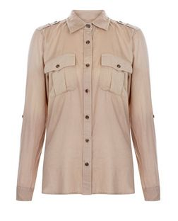 Apricot Stone Long Sleeve Shirt | New Look