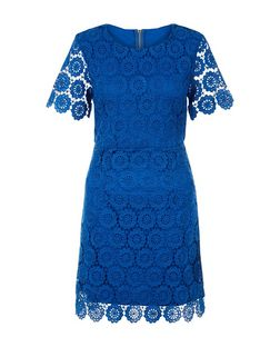 Apricot Blue Floral Print Lace Dress | New Look