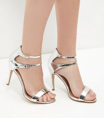 Sandalo  donna Silver Leather-Look Double Ankle Strap Heels