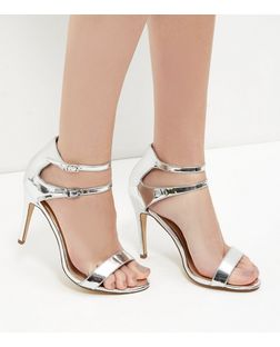 Silver Leather-Look Double Ankle Strap Heels | New Look