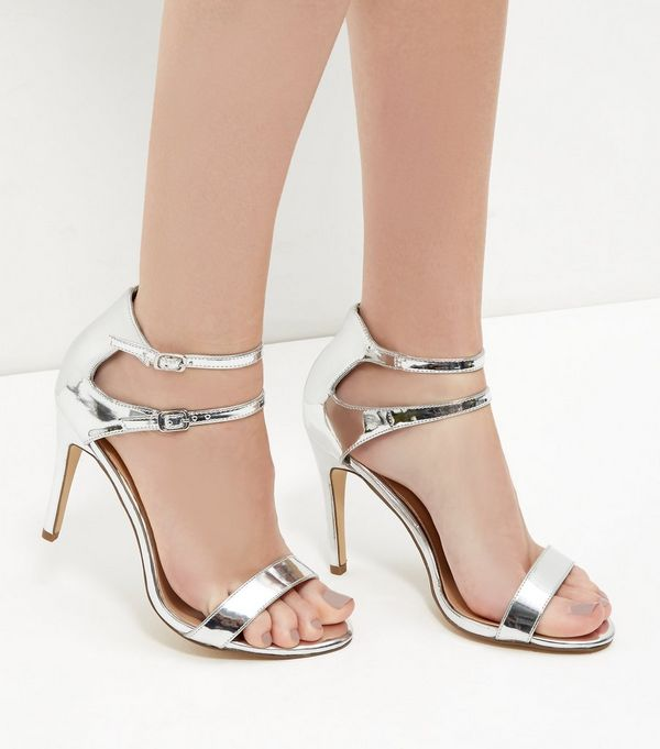 Silver Mirror Patent Double Ankle Strap Heels