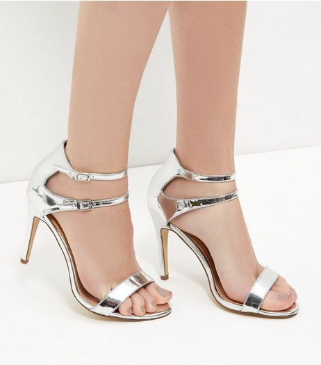 Silver Mirror Patent Double Ankle Strap Heels | New Look