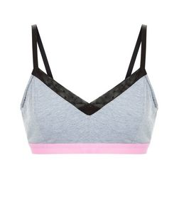 Grey Colour Block Bralet | New Look