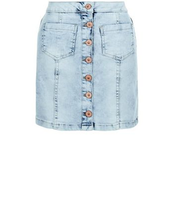 Parisian Pale Blue Button Front A-Line Denim Skirt
