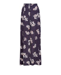 Grey Floral Print Button Front Maxi Skirt  | New Look