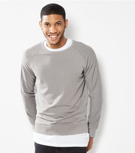Grey Reverse Panel Raglan Sweater | New Look