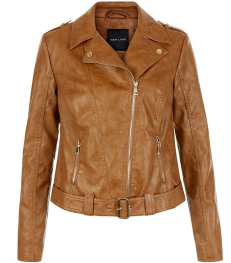 Tan Leather-Look Biker Jacket  | New Look