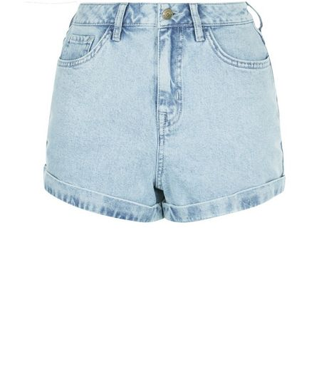 Light Blue Denim Acid Wash Turn Up Mom Shorts  | New Look