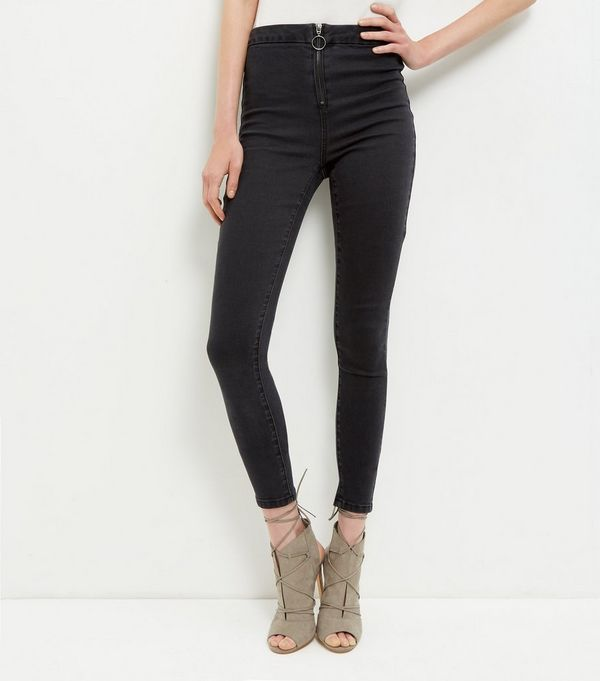 Black Zip Front Washed Skinny Jeans