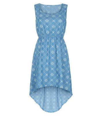 Mela Blue Check Sleeveless Denim Dress