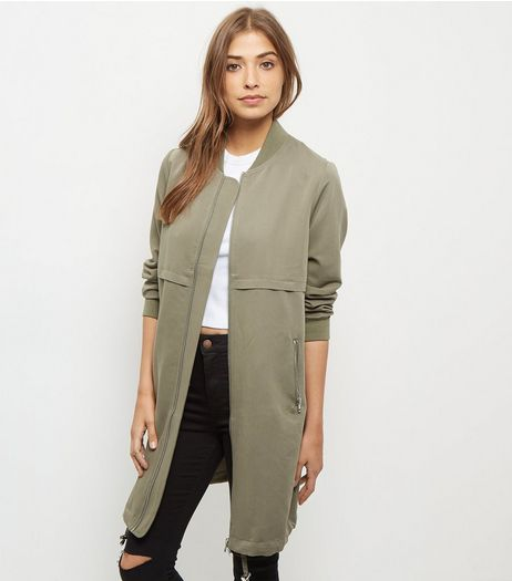 Khaki Drawstring Longline Bomber Jacket | New Look