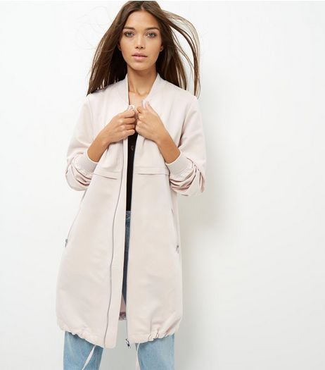 Shell Pink Drawstring Hem Longline Bomber Jacket | New Look