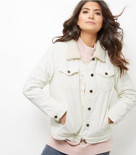 Stone Borg Lined Cord Jacket | New Look
