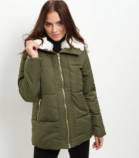 Khaki Borg Lined Puffer Jacket  | New Look