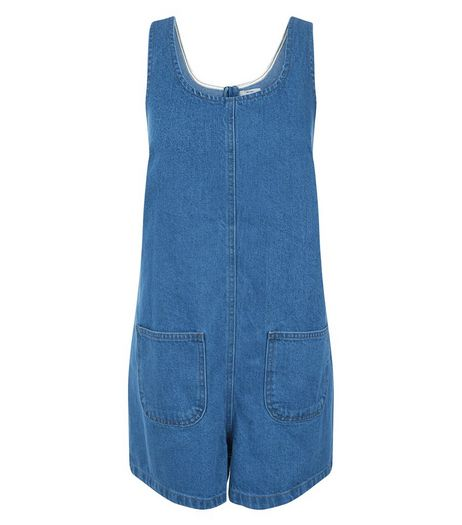 Blue Denim Double Pocket Pinafore Playsuit  | New Look