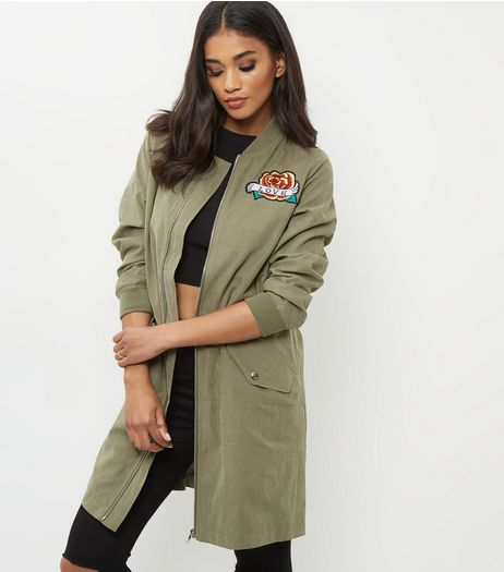 Khaki Badge Embroidered Longline Bomber Jacket  | New Look