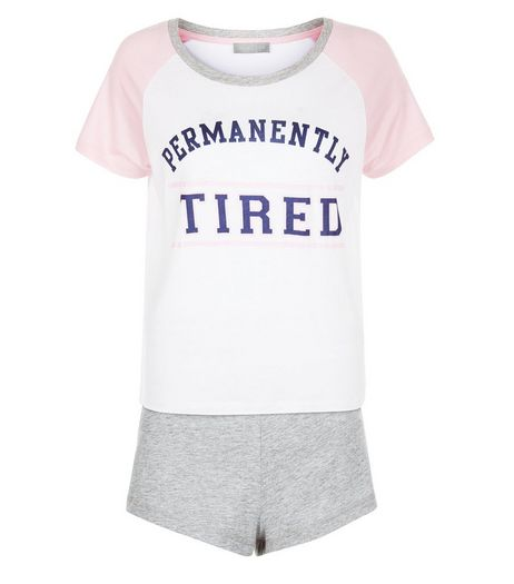 Pink Permanently Tired Pyjama Set | New Look