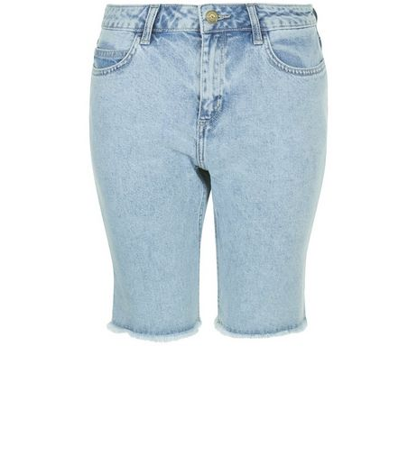Light Blue Acid Wash Fray Hem Denim Shorts  | New Look
