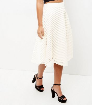 Petite Cream Mesh Stripe Balloon Midi Skirt