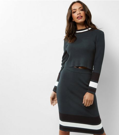 Petite Dark Green Stripe Hem Pencil Skirt | New Look