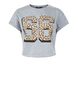 Teens Grey 66 Animal Print Crop Top | New Look
