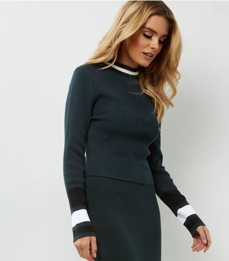 Tall Dark Green Contrast Stripe Trim Jumper  | New Look