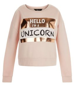 Teens Shell Pink Unicorn Print Foil Sweater | New Look