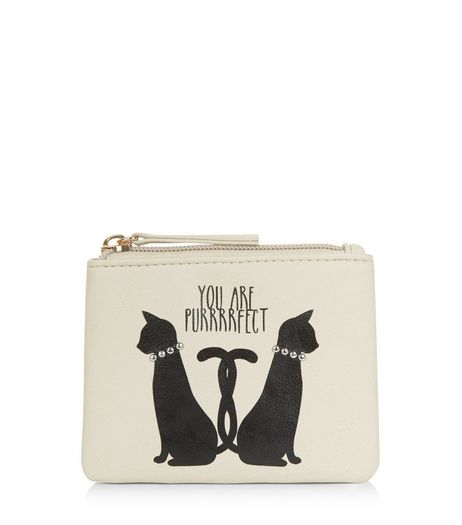 Cream Cat Slogan Zip Top Purse  | New Look