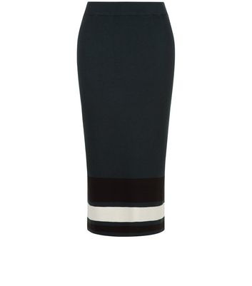 Product photo of Tall dark green stripe hem pencil skirt