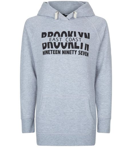 Teens Grey Brooklyn Longline Hoodie | New Look
