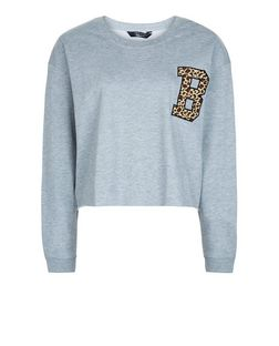 Teens Grey Amimal Print B Badge Sweater | New Look