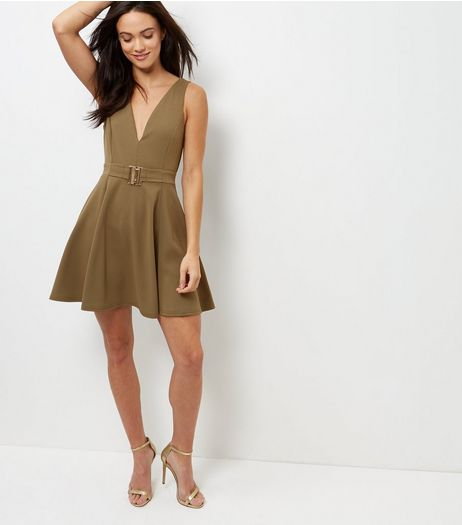 Khaki Buckle Waist Plunge V Neck Skater Dress  | New Look