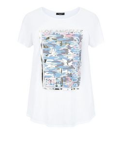 Curves White Camo Print Foil T-Shirt | New Look