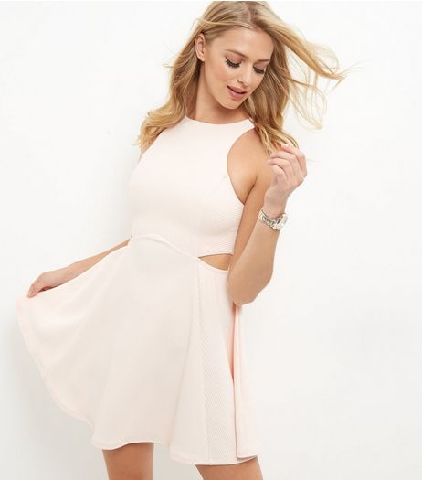 Shell Pink Ribbed Skater Dress | New Look