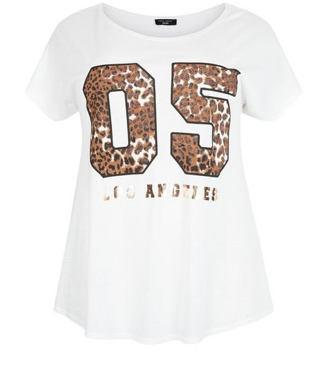 Curves White Leopard 05 Print T-Shirt | New Look