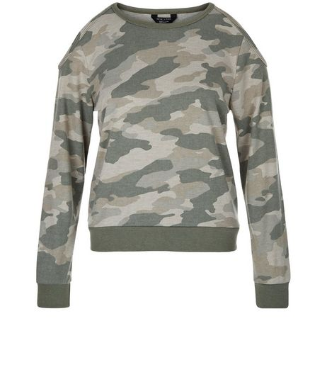 Teens Khaki Camo Print Cold Shoulder Sweater | New Look