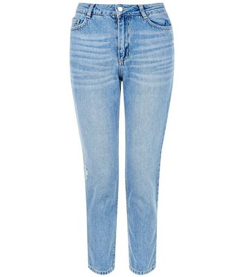 Petite 28in Pale Blue Straight Leg Jeans