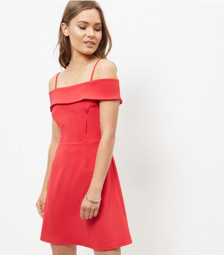 Red Cold Shoulder A-Line Dress  | New Look