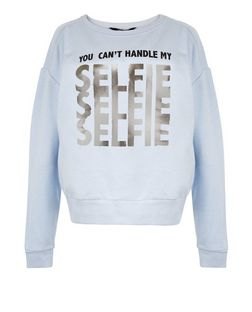 Teens Blue Foil Selfie Print Sweater | New Look