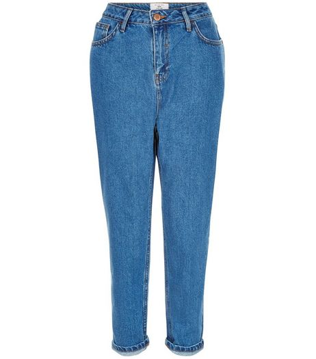 Petite Blue Turn Up Hem Mom Jeans | New Look