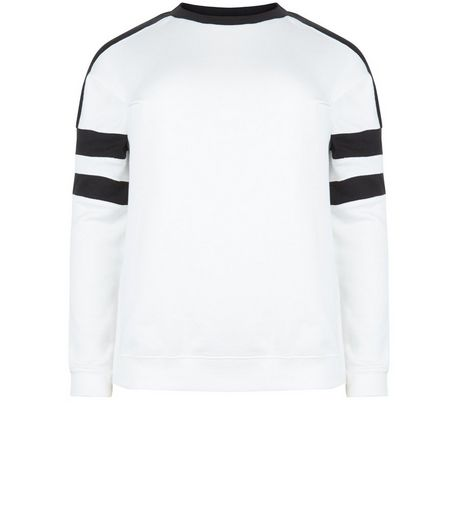 Curves White Colour Block Sweater  | New Look