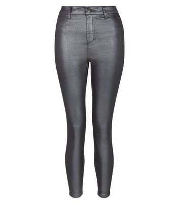 Petite Black Metallic Super Skinny Jeans