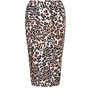 Brown Animal Print Pencil Skirt