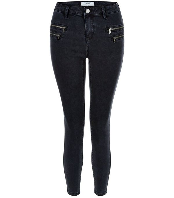 Petite Black Zip Pocket Skinny Jeans