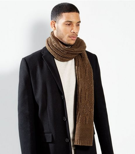 Khaki Cable Knit Scarf | New Look