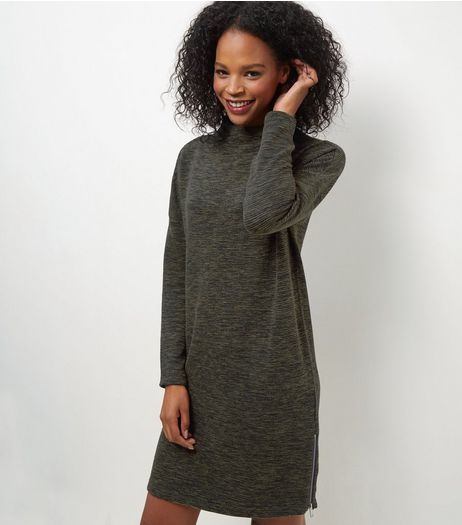 Khaki Funnel Neck Sweater Dress | New Look